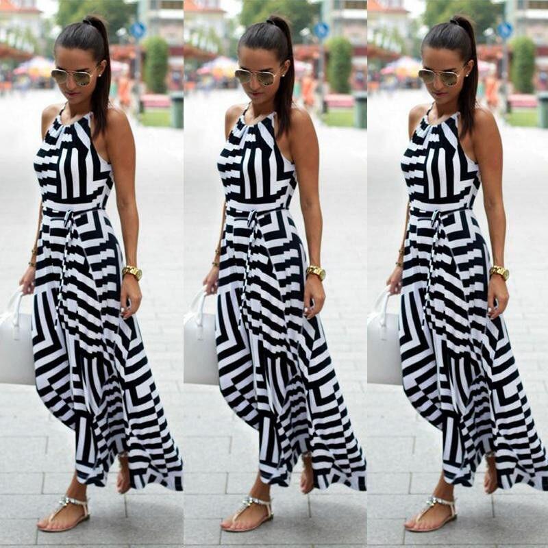 04907e547209 Women Sexy Summer Dress Boho Maxi Long Striped Sleeveless Party ...