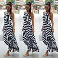 Women Sexy Summer Dress Boho Maxi Long Striped Sleeveless Party Dress Beach Clothing Dress Women Summer