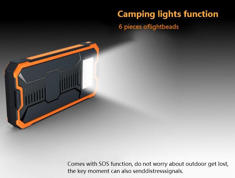 VariCore Solar alternative battery phone dual USB replacement battery phone 20000mAh waterproof power solar panel with LED