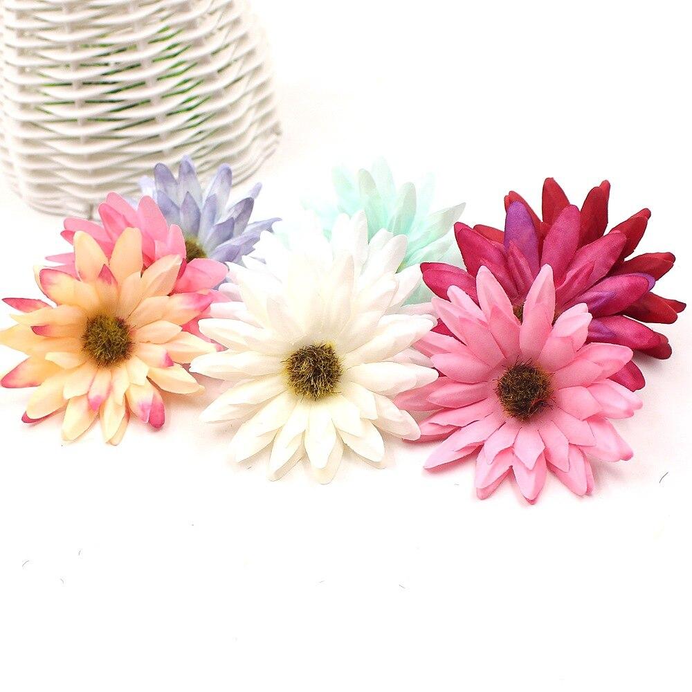 10pcs/lot 6cm Sunflower Artificial Flowers Daisy For Wedding Home Decoration Accessories Floral Scrapbooking DIY Craft Supplies