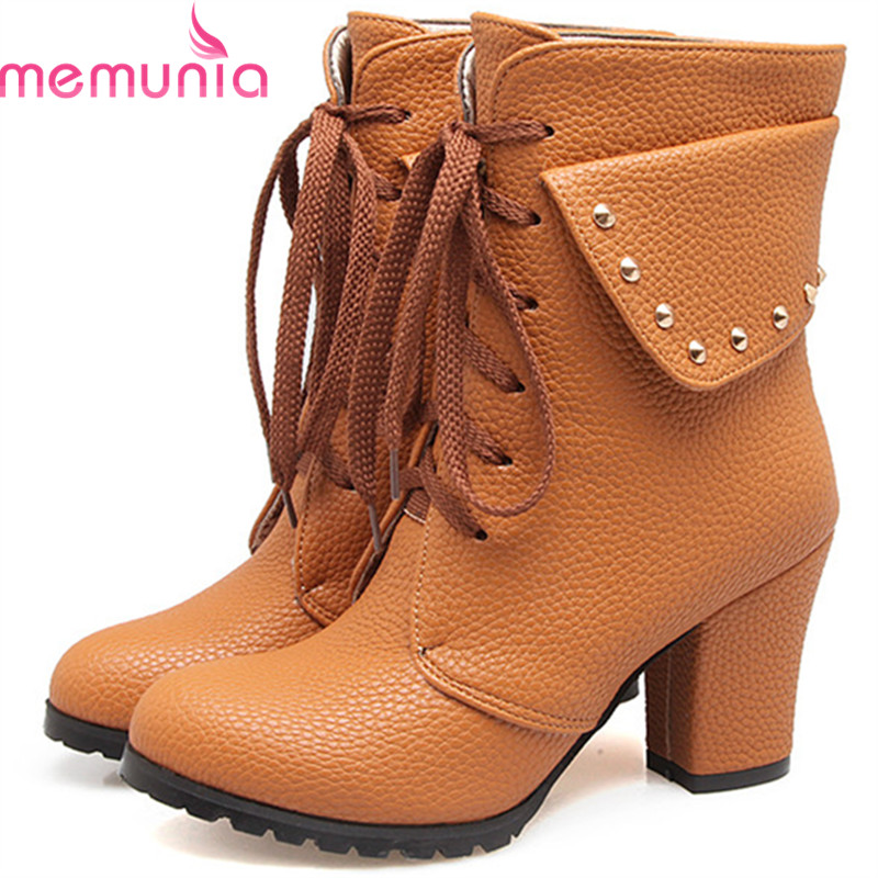 MEMUNIA Large size 34-44 womens boots fashion punk ankle boots for women autumn shoes woman PU lace-up high heels princess lolita punk shoes loliloli yoyo japanese design custom large size black lace with pu lace up short boots 1423 a