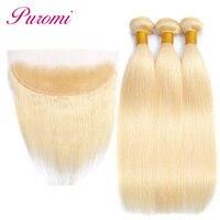 Puromi 613 Blonde Bundles With Frontal Closure Peruvian Straight Hair 3 Bundles 100% Human Hair Non Remy Blonde hair Extension