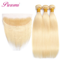 Puromi 613 Blonde Bundles With Frontal Closure Peruvian Straight Hair 3 Bundles 100% Human Hair Non Remy Blonde hair Extension