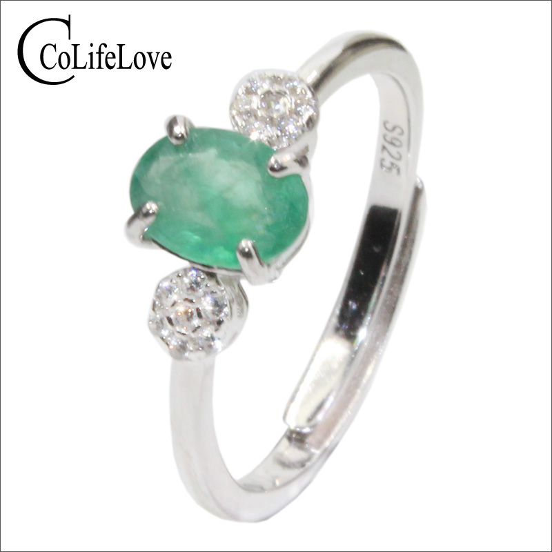 CoLife Jewelry simple emerald ring for engagement 0.6ct natural emerald silver ring 925 silver emerald jewelry birthday giftCoLife Jewelry simple emerald ring for engagement 0.6ct natural emerald silver ring 925 silver emerald jewelry birthday gift