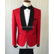 Red  Jacquard Pattern Men Suits for Wedding Groom Tuxedos 2018 Black Shawl Lapel Two Piece Jacket Pants Slim Fit Male Blazer