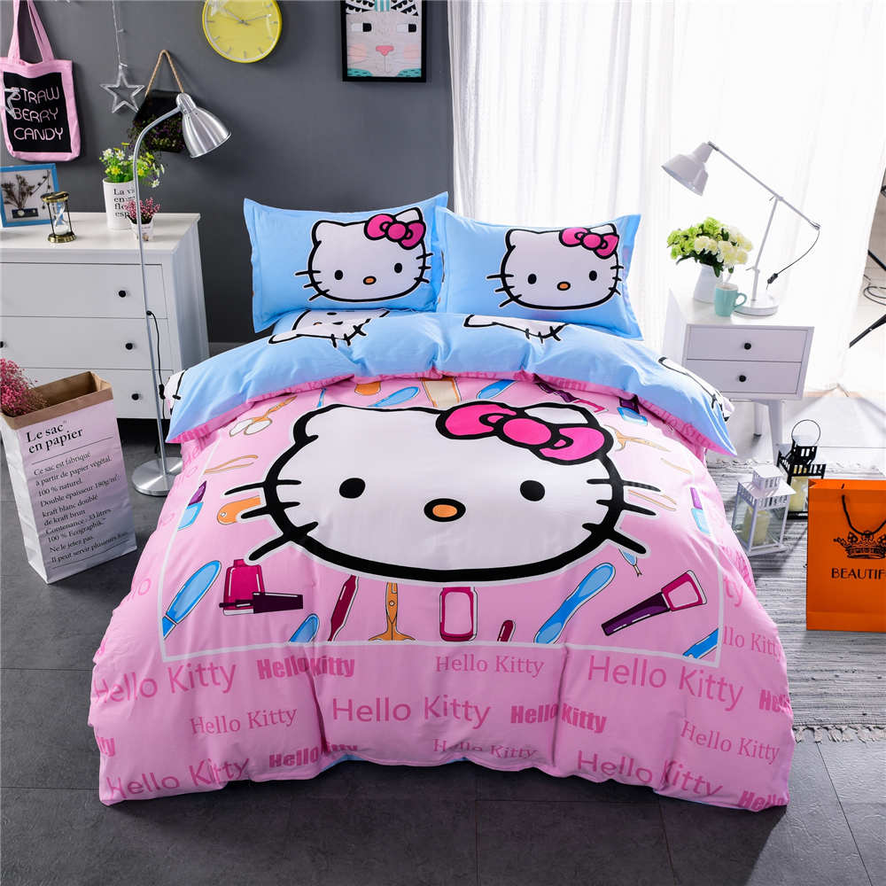 Pink hello kitty bedsheet - New Hello Kitty Bedding Set Bedspreads Girl S Childrens Quilt Duvet Cover 500tc Woven Cotton Blue