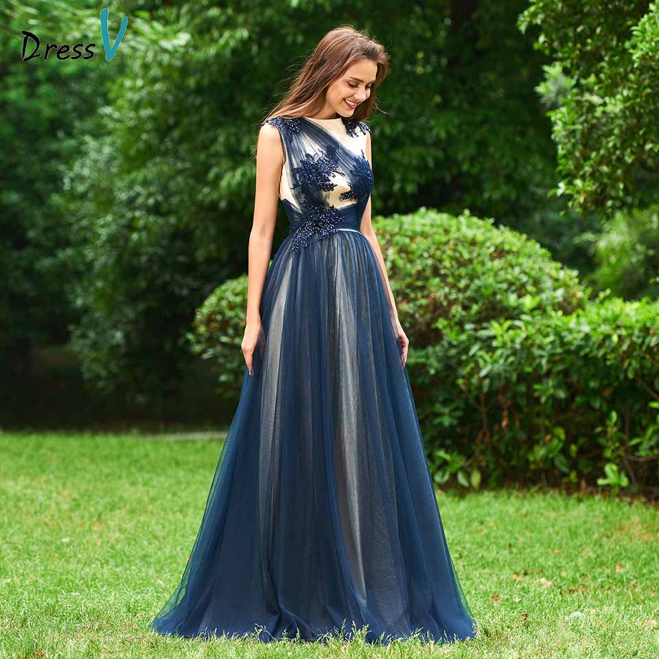 Dressv Beading Party-Gown Appliques Evening Elegant Sleeveless A-Line Scoop Customize