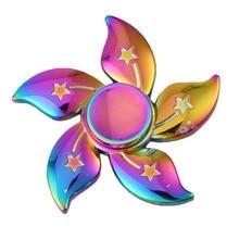 New Arrival Rainbow Bauhinia Flower Star Metal Spinner Fidget Hand Finger Gyro EDC Focus Toy Tri-spinner  Stress Toy Gift