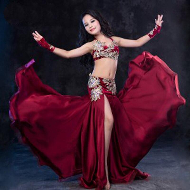 Новое поступление, роскошный детский костюм для танца живота, комплект из 2 предметов: бюстгальтер + юбка, костюм для танцев в восточном стил
