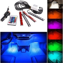 Car RGB LED Ambient Lights Auto Interior Decorative Atmosphere RGB 7 colors Pathway Floor Light Strip Remote Control 12V 36 led 12v car led strip car interior decorative atmosphere strip auto pathway floor light remote control voice activated light