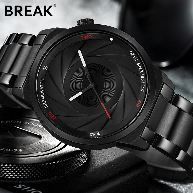 BREAK Unique Design Photographer Series Men Women Uni Wristwatch Stainless Steel Quartz Sports Creative Casual Fashion Watch