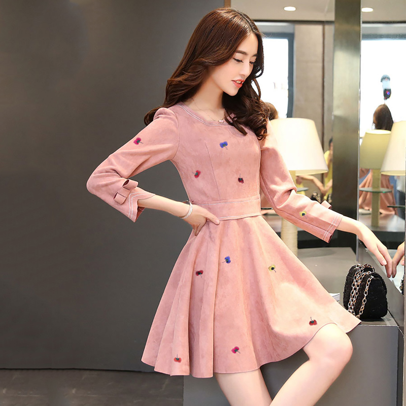 2018 Spring And Autumn New Suede Dress Long Sleeve Dresses