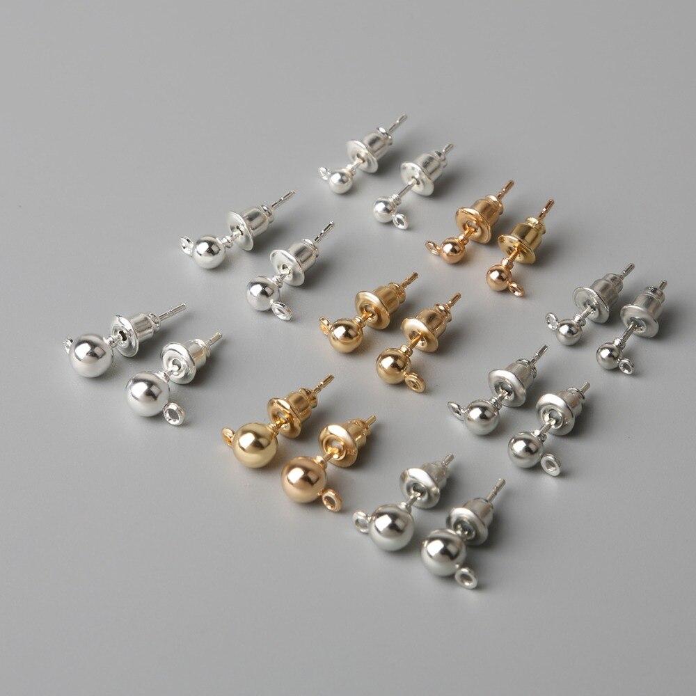 Серьги-гвоздики с родиевым покрытием, позолоченные, золотистые, серебристые базовые украшения «сделай сам», аксессуары для бижутерии, 10 шту...