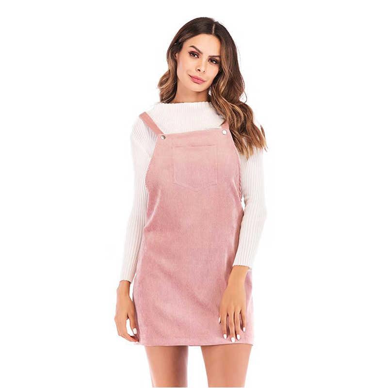 ed20d9cf8cb 2018 Women Retro Corduroy Dress Fashion New Suspender Sundress Sarafan Loose  Vest Overall Dress Female Natural