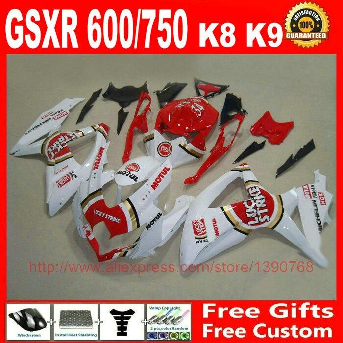Fairing kit for Suzuki GSXR 600 GSXR 750 08 09 10 red white LUCKY STRIKE fairings set K8 K9 2008 2009 2010 BM76 hot sales yzf600 r6 08 14 set for yamaha r6 fairing kit 2008 2014 red and white bodywork fairings injection molding