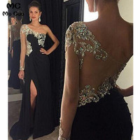 2019 One Shoulder Evening Dresses Long with Crystals Beaded Long Sleeves Front Slit Chiffon Evening Party Dress for Women