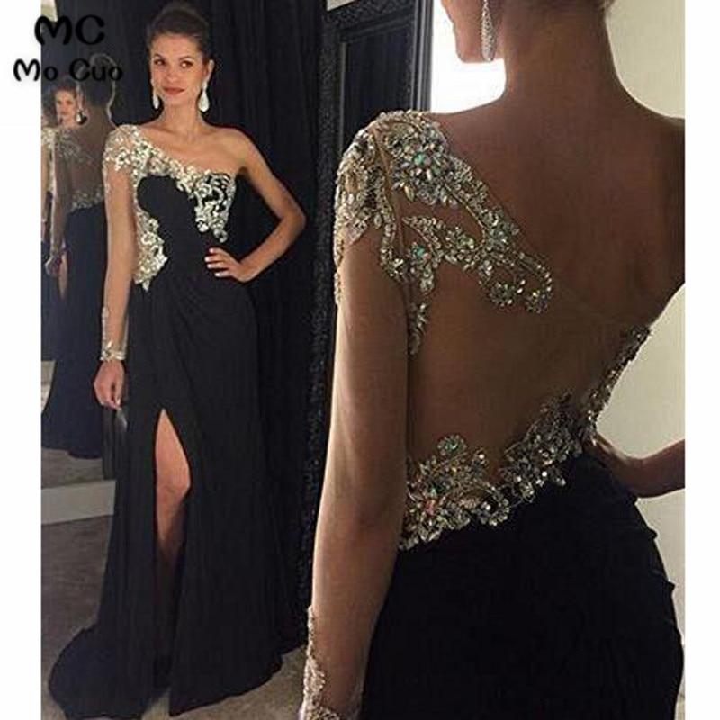 2019 une épaule robes de soirée longues avec cristaux perlés manches longues avant fente en mousseline de soie robe de soirée pour les femmes