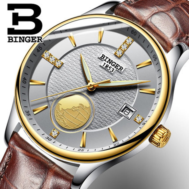 цена Genuine Luxury BINGER men waterproof stainless steel leather strap automatic mechanical Luxury watch dial 18K gold calendar