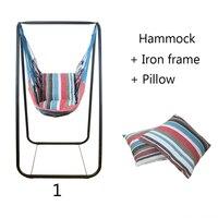 Модные гамак для спальни крытый и открытый студенческого общежития качели кровать детская Досуг висит стул + железная рама 2 подушки