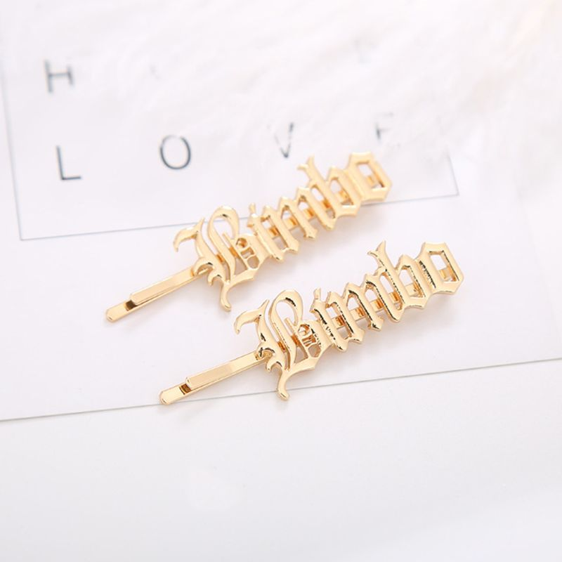 Vintage Gothic Blackletter Alphabet One Word Hairpins Women Metallic Gold Polished Hair Clip Side Bangs Styling Hair Accessories in Women 39 s Hair Accessories from Apparel Accessories