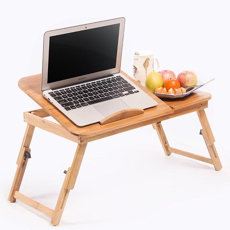 Maison créative double ventilateur muet bambou lit support pliant pour ordinateur portable multi-fonction table avec tiroir de rangement WF6011120