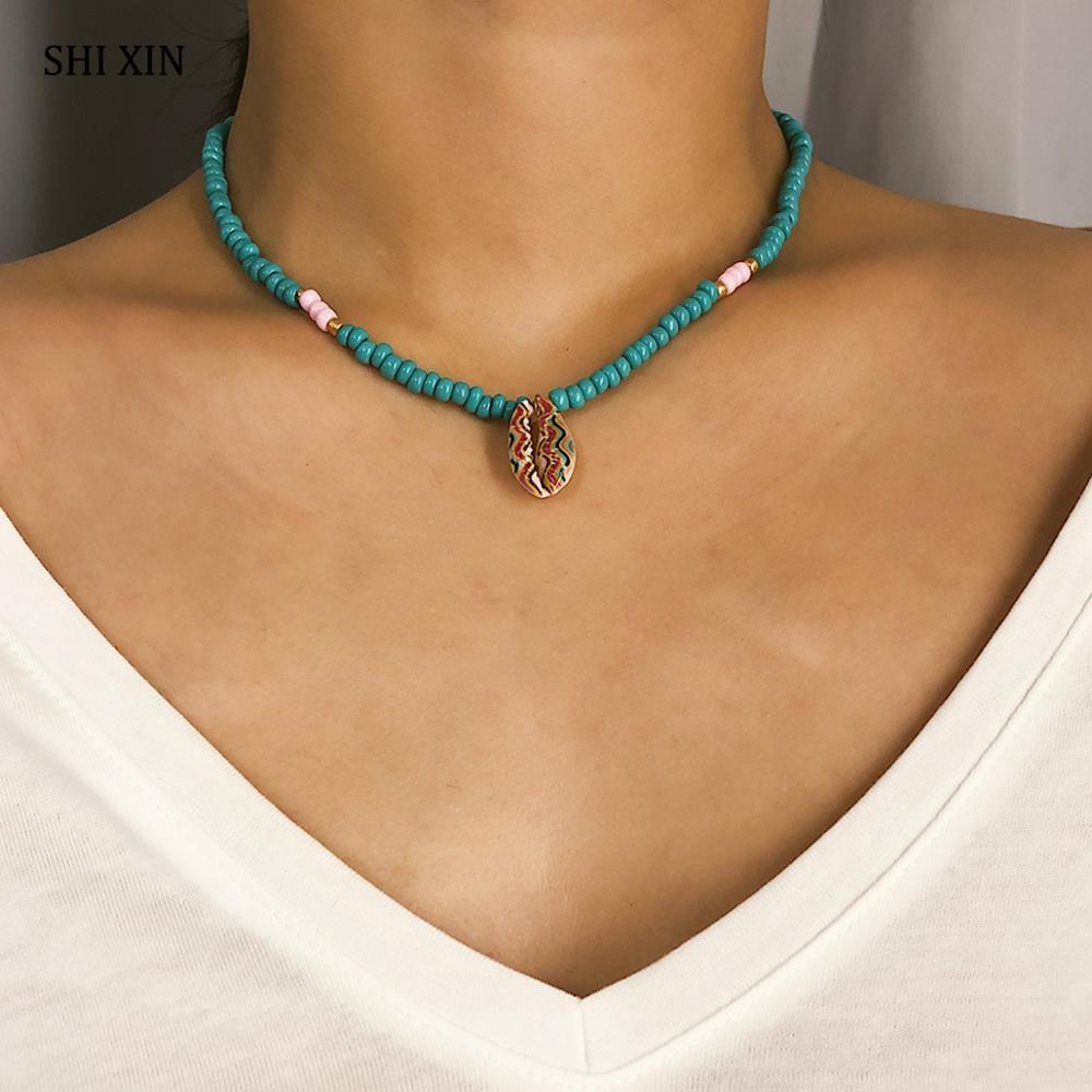 SHIXIN Colorful Paint Sea Shell Necklace Women Boho Choker Necklaces With Seashell Pendant Decoraton on the Neck Fashion Jewelry