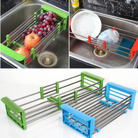 New Arrival retractable stainless steel wicker baskets Adjustable Shelf fruit/vegetable draining rack tray dish drainer