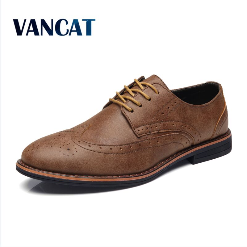 VANCAT 2018 Luxury Leather Brogue Mens Flats Shoes Casual British Style Men oxfords Fashion Men Shoes Brand Dress Shoes For Men 2015 new fashion british martin causal genuine leather men shoes brand camel men shoes real leather men flats casual shoes man