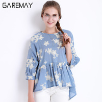 2017 Womens Embroidery Blouse And Tops Femme Blue Bordada Shirts Moda Mujer Ruffles Blouse Large Size