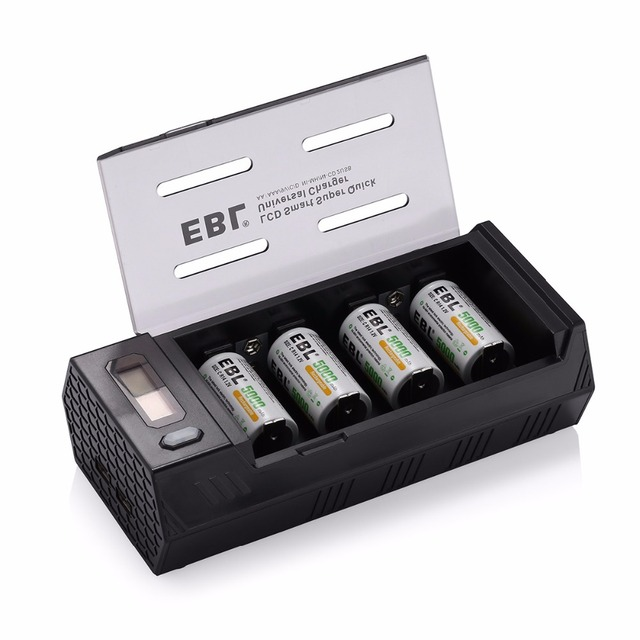 4pcs/lot EBL 5000mAh Rechargeable Battery + Battery Charger for AA AAA C D 9V Ni-MH Ni-CD Battery with Dual USB Ports Universal