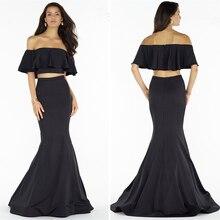 Die Neueste Zweiteiler Prom Kleid Für Mädchen Satin Meerjungfrau schwarz Abendkleider Ruched Sweep Zug Kleider Mit Ärmeln Für Prom