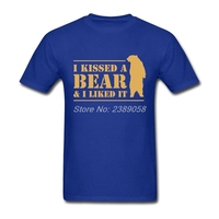 T-Shirts Men Short Sleeve I Kissed A Bear And I Liked It Cool Hairy Grizzly tshirt Harajuku T Shirt Teenager Plus Size