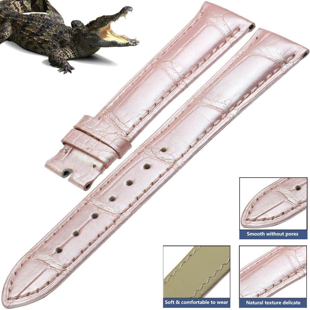 PETSIDUN 100 Genuine Crocodile Leather Watch Band Black Alligator Strap 14mm 24mm