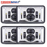 DOT E9 Approved Chrome Square 4x6Inch LED Headlights Truck Headlamps Driving Lighting replacement projector lamp