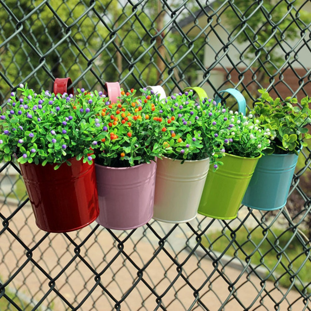 US $3 44 |3 colors Hanging Flower Pot Hook Wall Pots Balcony steel Flower  Holder Garden Wall Home Decor Plant Pots -in Flower Pots & Planters from