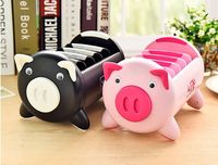 Free Shipping 1Piece Black Pink Multi Functional Cute Kawaii Cartoon Pig Plastic Controler Phone Cosmetics Holder