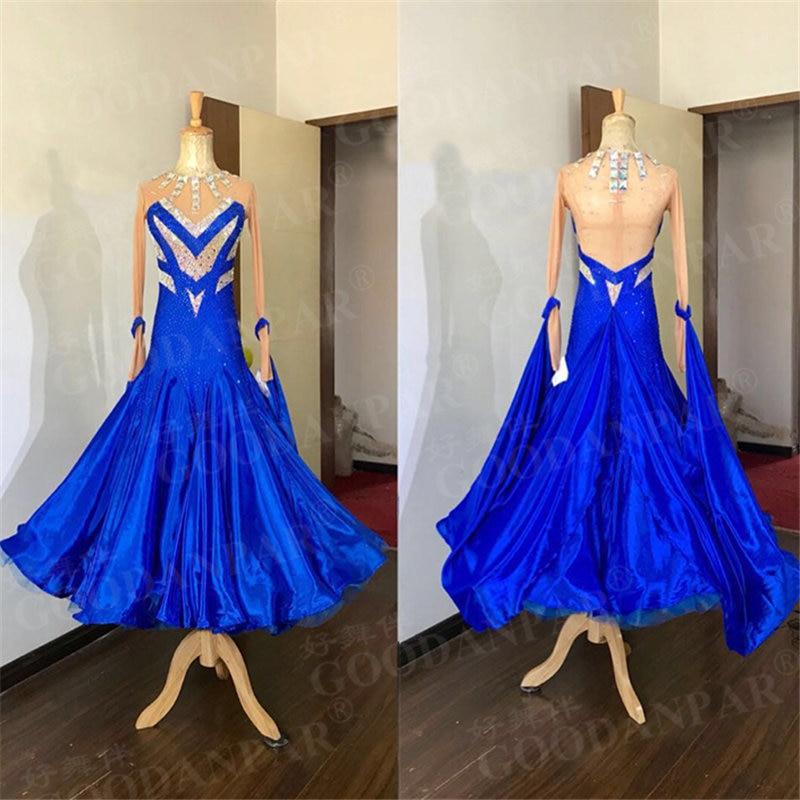 GOODANPAR New Style Lycra Mesh Ballroom Dance Competition Dresses Women With Rhinestone Necklace Bodysuit Bra Stage Dance Wear