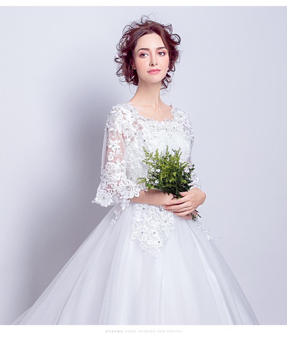 Angel Wedding Dress Marriage Bride Bridal Gown Vestido De Noiva 2017 Boat Neck horn sleeve, big tail 6910 12