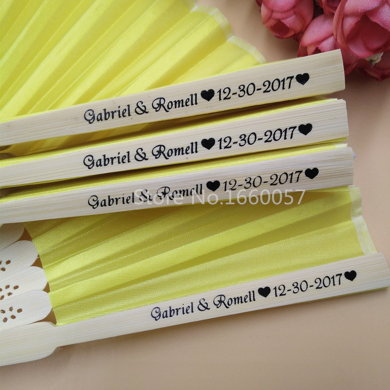 100pcs Personalized Wedding Silk Fans Cloth Hand Fan Folded Fan Abanico with Organza Gift Bag Customized