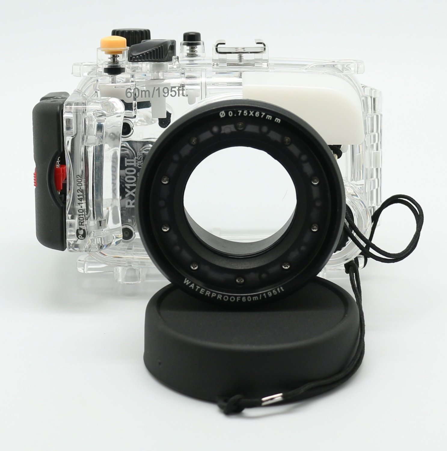 60M/195ft Waterproof Underwater Camera Housing Diving Case for SONY DSC-RX100 ii RX100M2 RX100 mark2 цены