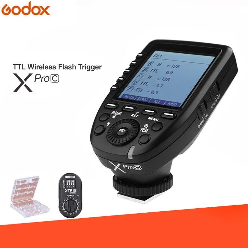Godox XPro-C E-TTL 2.4G Wireless HSS Flash Trigger+XTR-16 Receiver for Canon Godox X1R-C XT-16 AD360/DE/QT/DP/QS/GS/GT Series аксессуар godox dm 16 радиосинхронизатор
