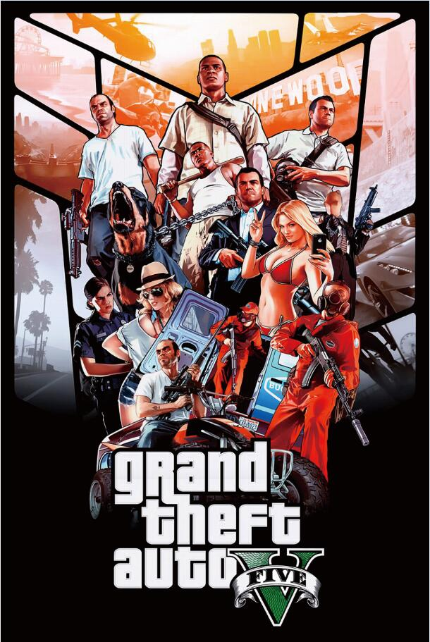 Free Shippinggrand Theft Auto 5logoart Gameposter Hd Home Wall