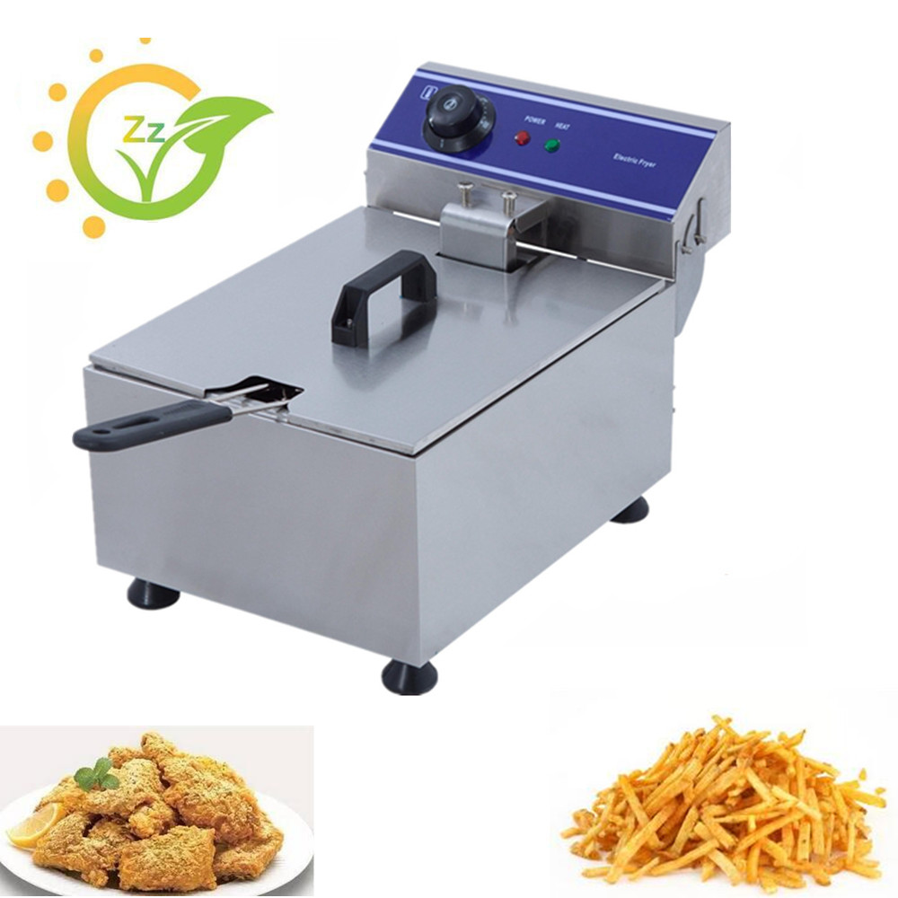 CE Approved Mini Electric Commercial 10L Single Tank Deep Fryer for Chicken French Fries Frying Machine 2 6l air fryer without large capacity electric frying pan frying pan machine fries chicken wings intelligent deep electric fryer