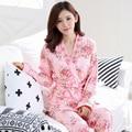 Новый Дизайн Весна Осень Зима женская Хлопок Розовый и Голубой Цветочный Животных Халат и Платье 3 Шт. Набор Пижамы ночная рубашка