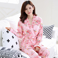 Newest Design Spring Autumn Winter Women's Cotton Pink and Blue Floral Animal Robe and  Dress 3 Pieces Set Pajamas Nightgown