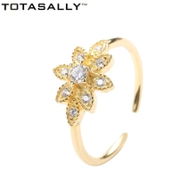 TOTASALLY 100% Real S925 Silver Personality Finger Rings Hot Fashion vintage Style Golden flower Zircon party Ring For Women