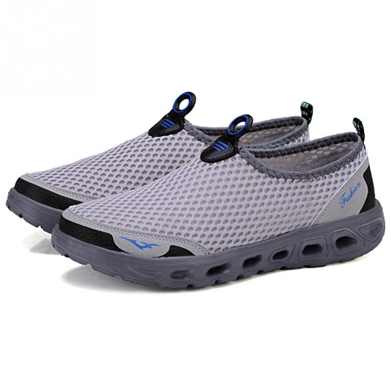 Casual on Chaussure Homme Bleu Mesh Bateau Respirant Hommes Gray light ardoisé D'été Doux Mâle Confortable Slip Chaussures 3cTJFK1l