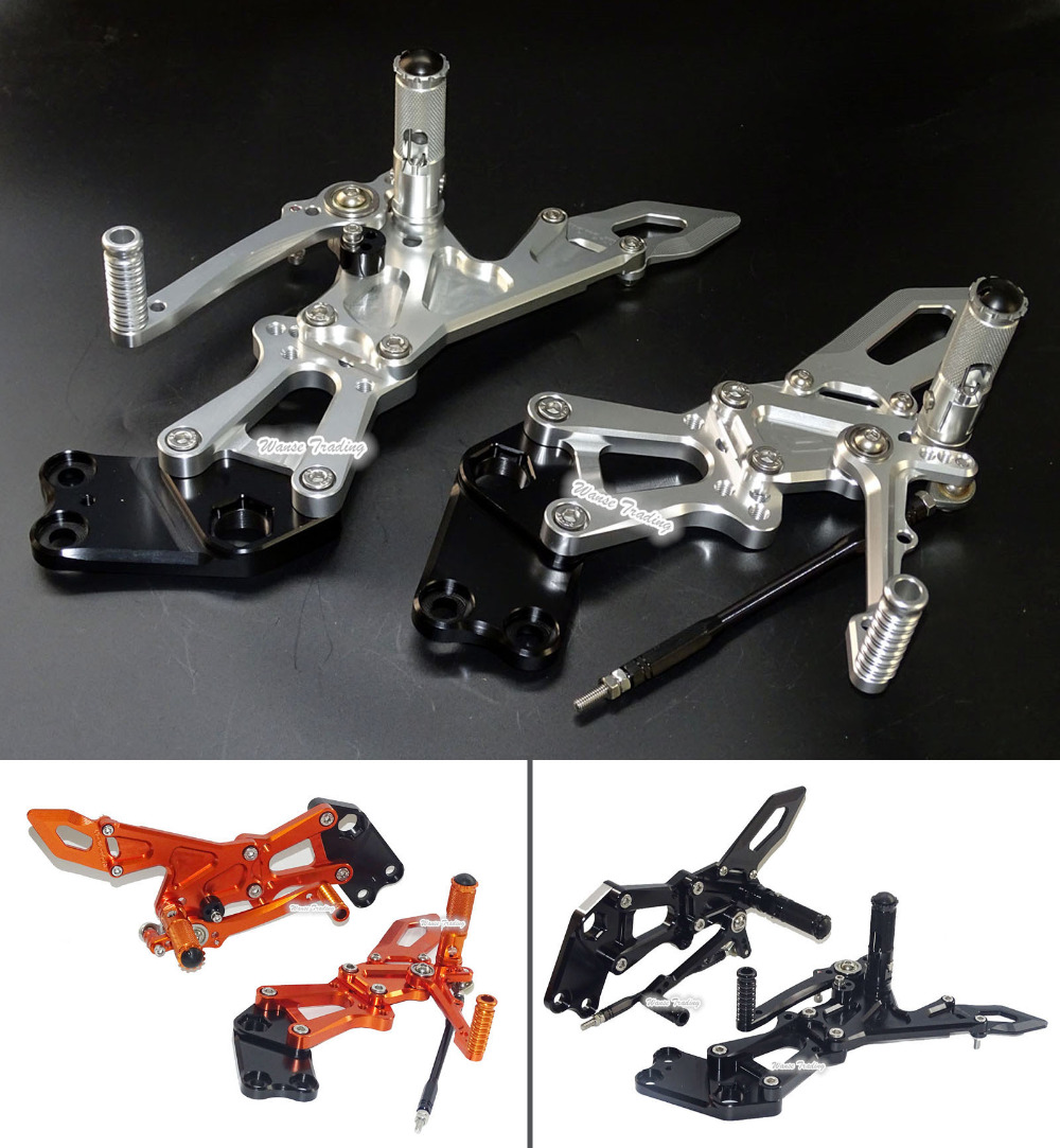 CNC Adjustable Rider Rear Sets Rearset Footrest Foot Fold Rest Pegs For KTM RC125 RC200 RC390
