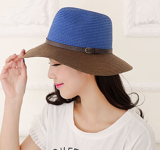 2f8fd4ee545fdf Wholesale Nice Designer Block Color Paper Straw Fedora Hats Women Summer  Trilby Hat Ladies Sun Fedoras Cap Womens Trilbys Caps