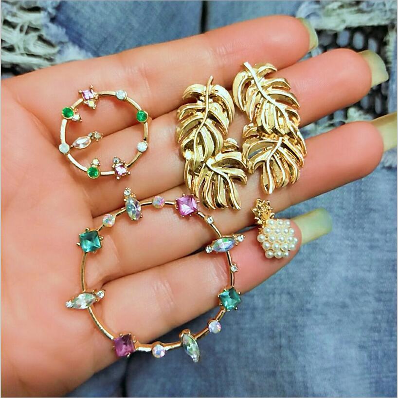 Sexy korean Gold/Silver Big Circle long Hoop Earrings Bijoux Geometric Pineapple leaf Earrings For Women Punk Statement Earrings gold earrings for women
